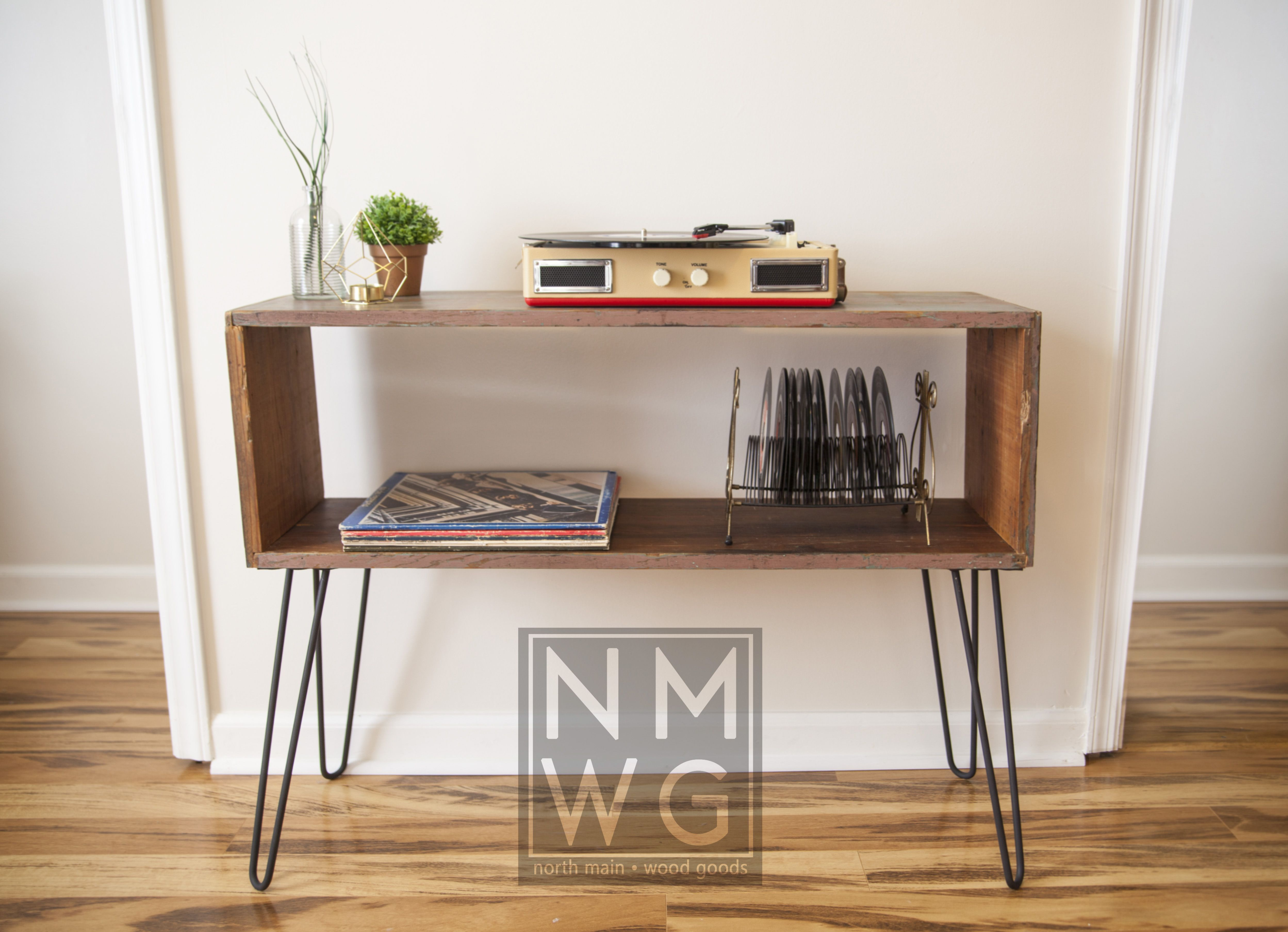 Console Table With Hairpin Legs. Perfect For Record Players And Storing  Records!
