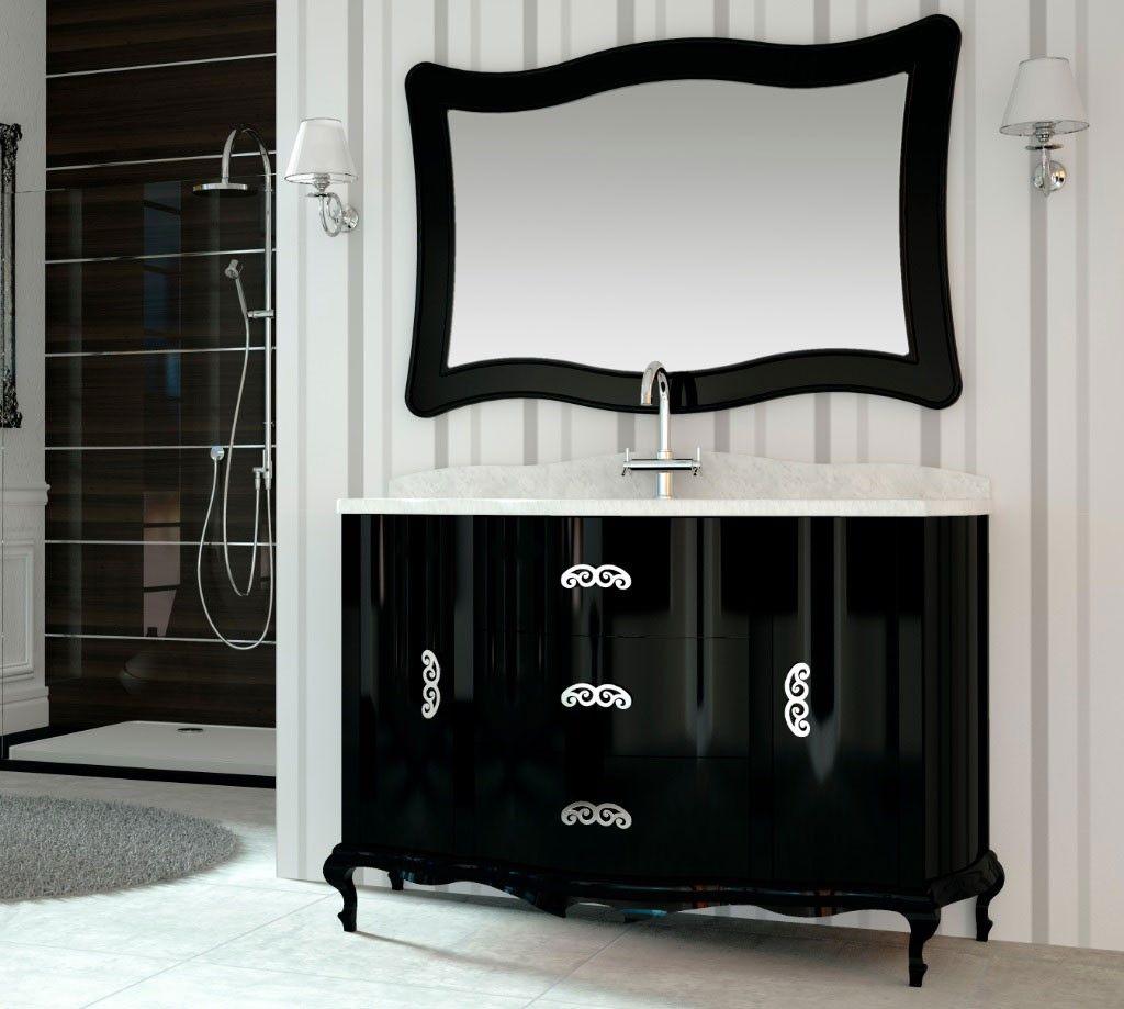 Mueble De Ba O Cl Sico Roma Negro Brillo Bathroom Furniture  # Muebles Cautivo