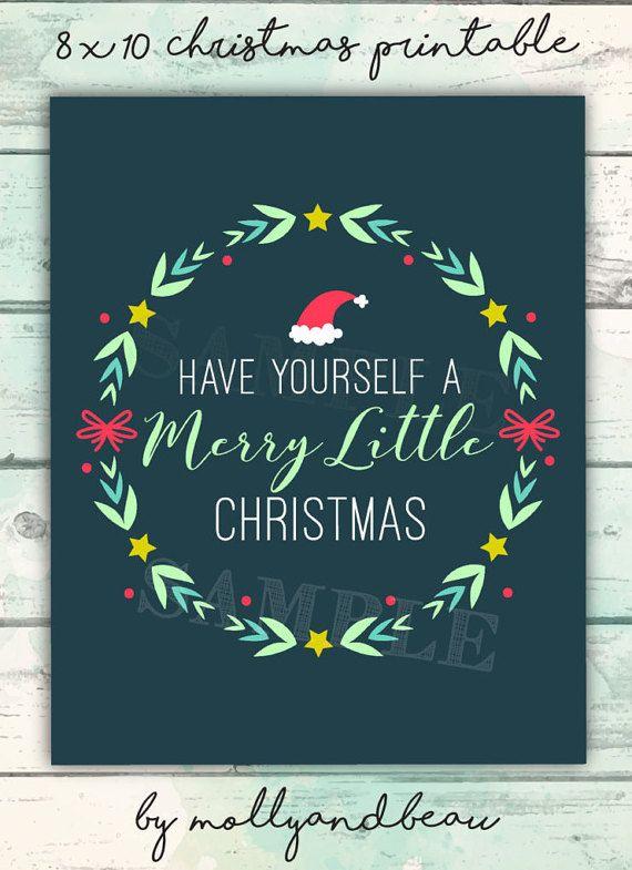Christmas Printable, Have Yourself a Merry Little Christmas, Printable Christmas Art, Christmas ...