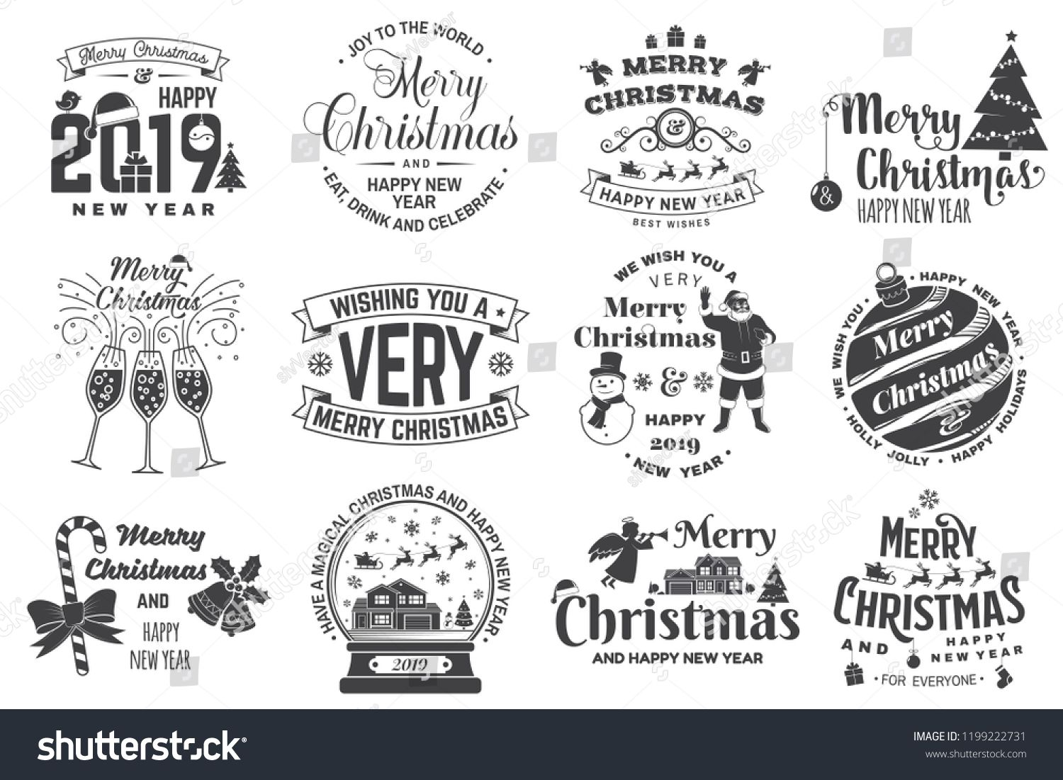 Set of Merry Christmas and 2019 Happy New Year stamp