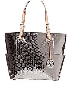 06d3d7bfdf40 MICHAEL Michael Kors Jet Set East West Signature Mono Mirror Metallic Top  Zip Tote