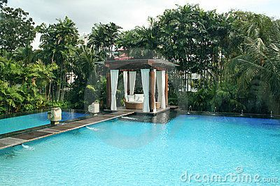 Gazebo sitting in the middle of a swimming pool. | Dream ...