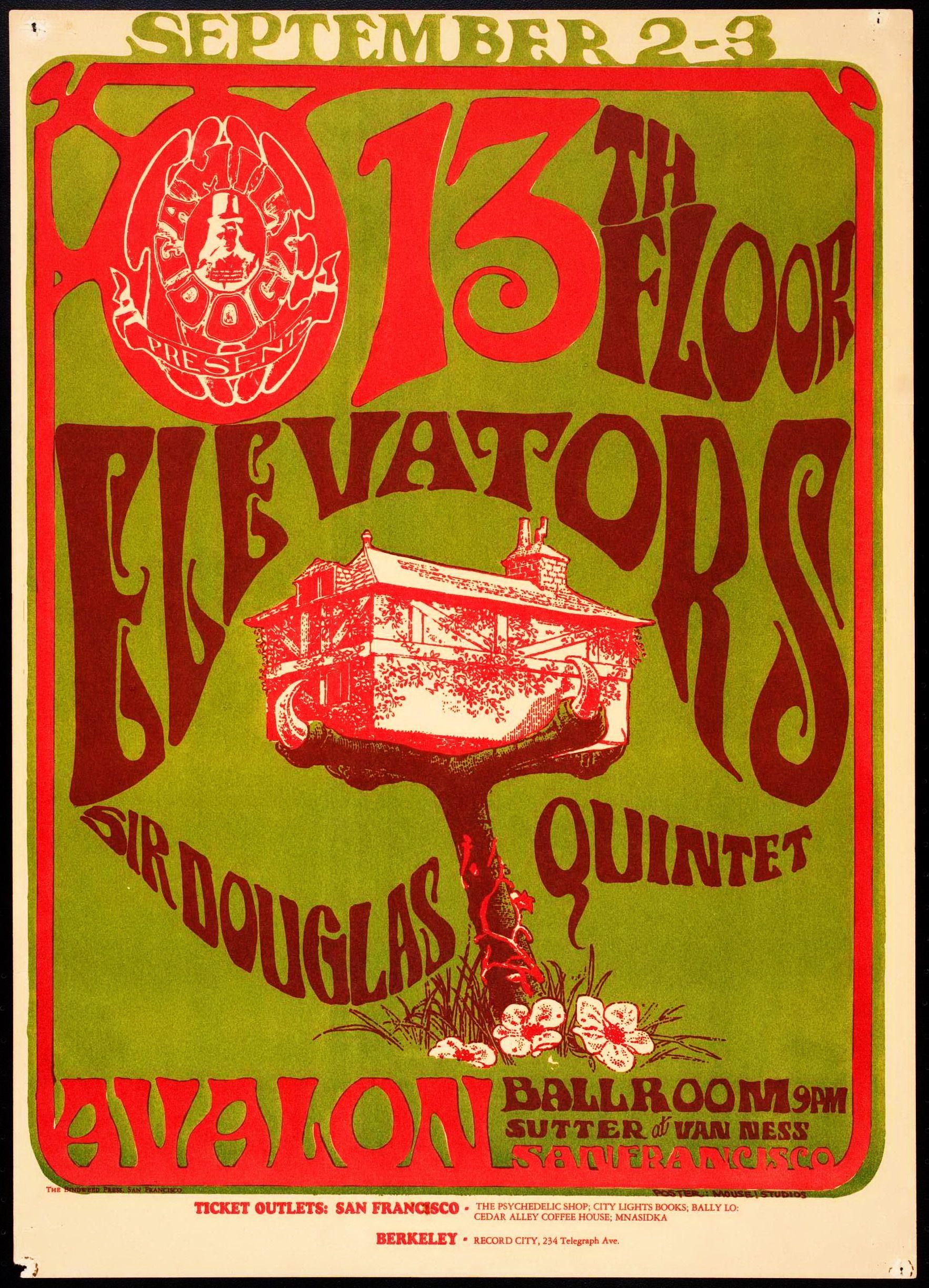 The 13 Floor Elevators Classic Rock Concert Poster