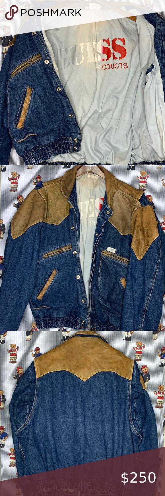 Vintage 80s Guess Leather Denim Jacket Marty Mcfly Leather Denim Denim Jacket Jackets [ 1740 x 580 Pixel ]