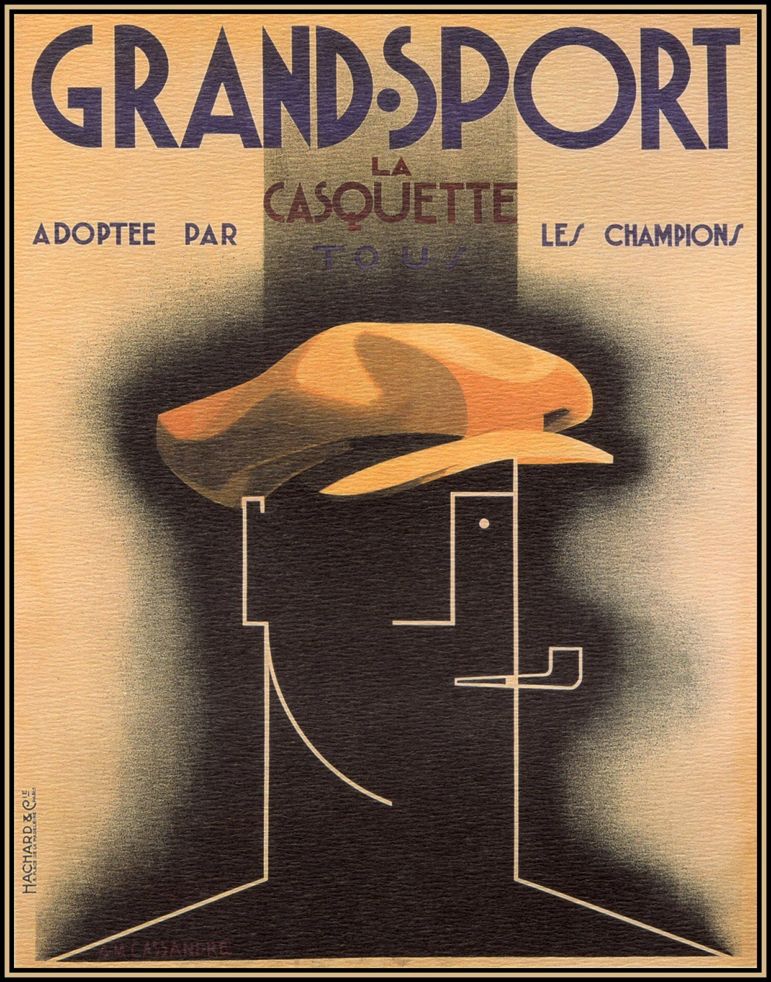 1925 GRAND SPORT CHAMPIONS CHOICE Adolphe Mouron CASSANDRE ABSTRACT ART POSTER