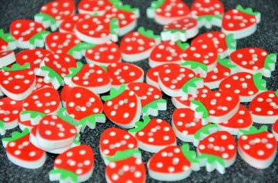 20 pcs strawberries buttons by:-marianna123