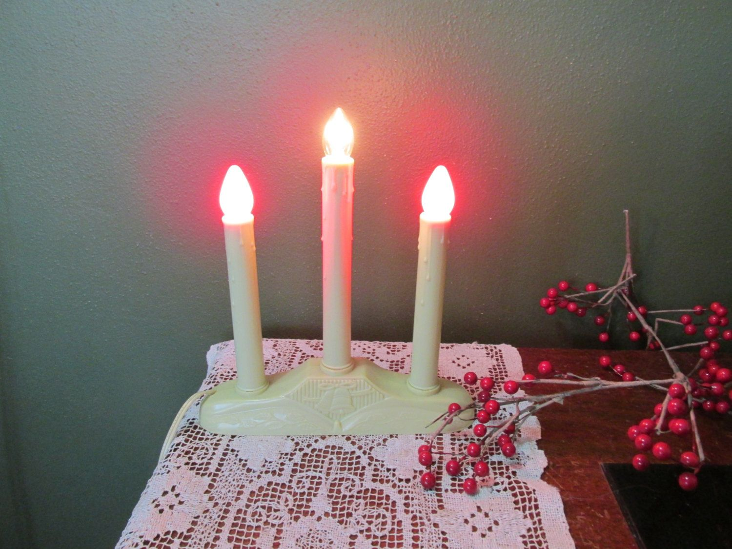 Christmas Candle Candoliers With 3 Electric Candles By LuRuUniques On Etsy