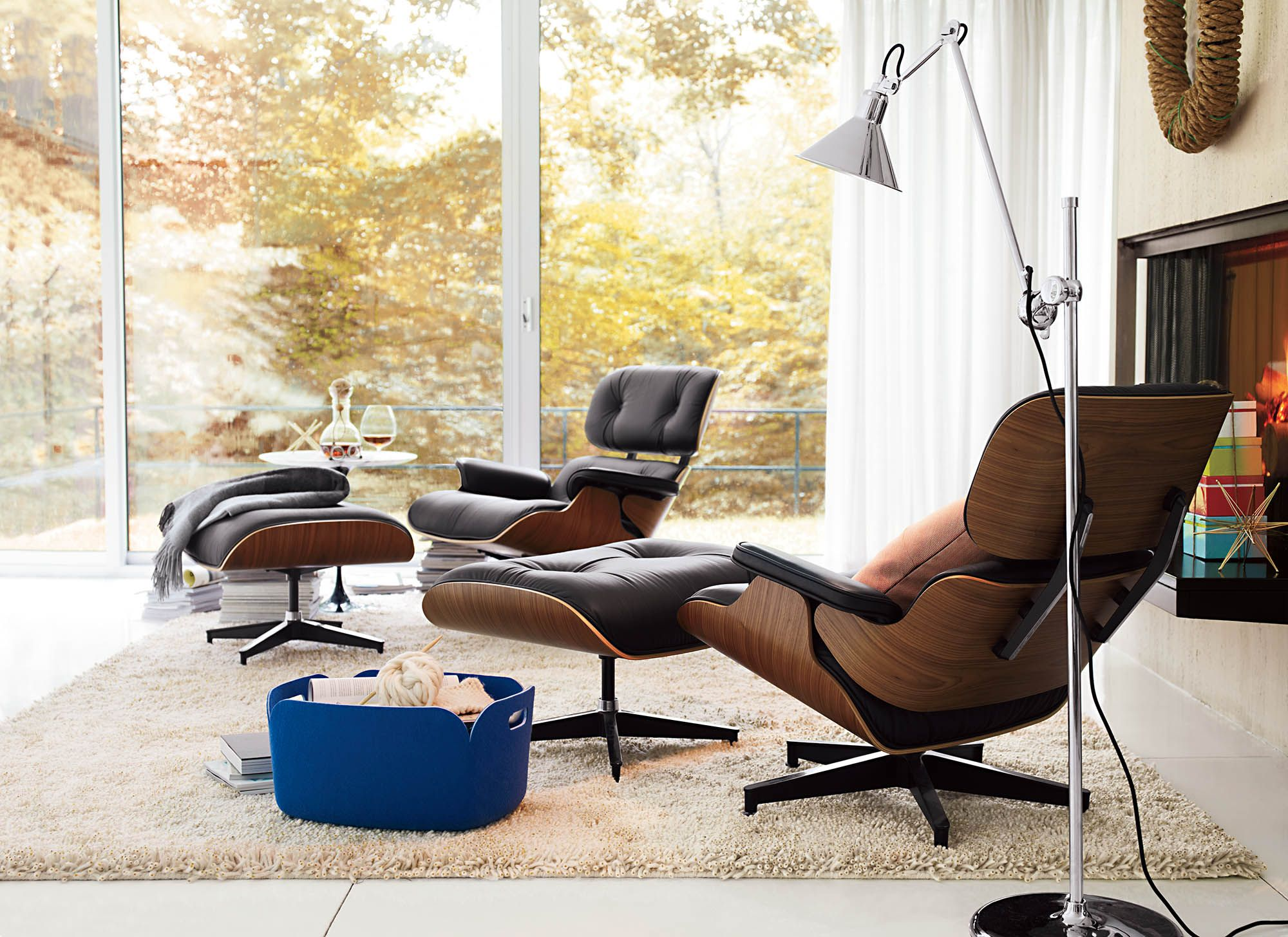 Restore Basket, Medium Eames style lounge chair, Eames