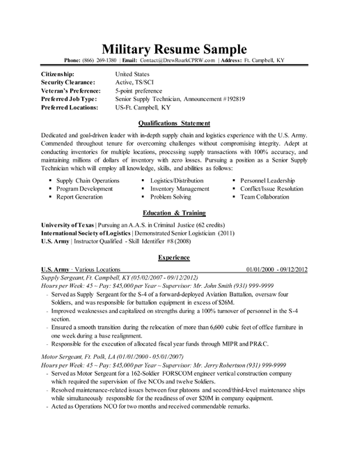Exceptional Military Resume With Military Resume Examples