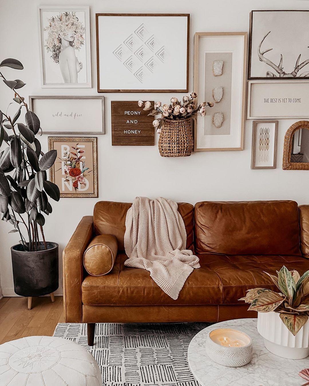 Boho Living Room Cognac Tan Leather Sofa Gallery Wall Neutral Home In 2020 Tan Leather Sofa Living Room Tan Walls Living Room Leather Couches Living Room #tan #sofas #in #living #room