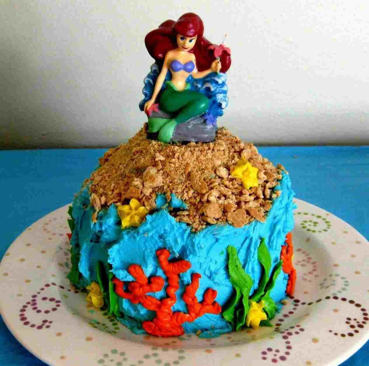 Blue ariel birthday sheet cake mermaid birthday cakes