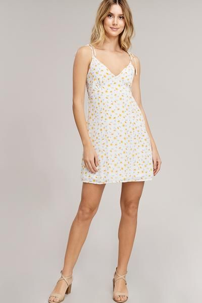 f1835cb01a White and Yellow Floral Mini Dress in 2019