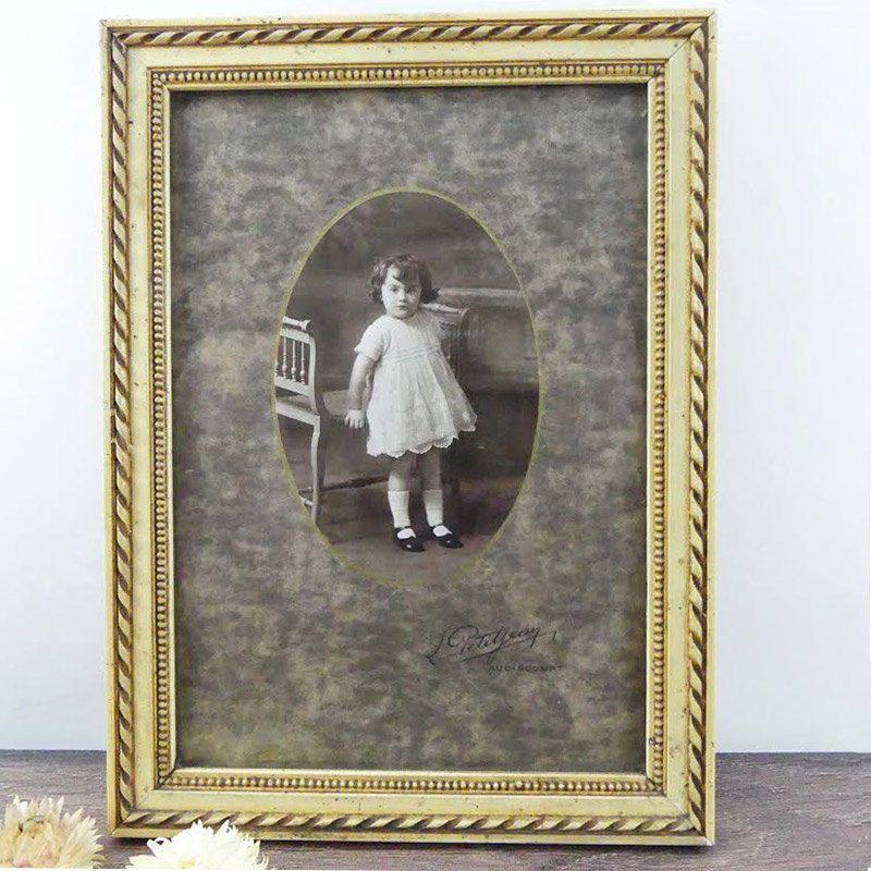 Antique Frame 1930 little girl white and black picture - Plaster ...
