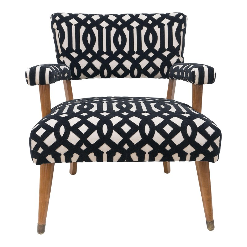 Incredible Mid Century Modern Black And White Pattern Velvet Accent Dailytribune Chair Design For Home Dailytribuneorg
