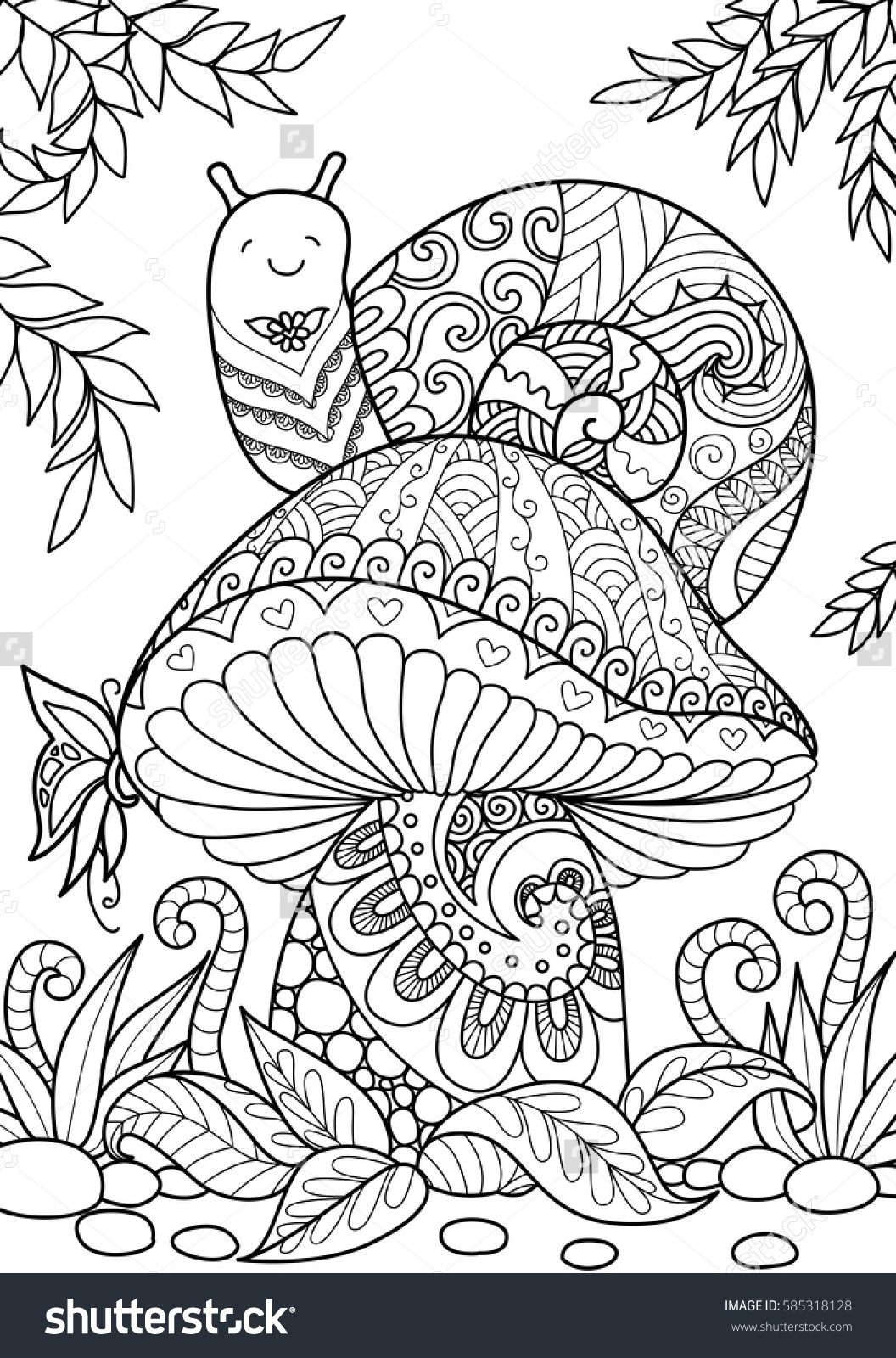 Snail Sitting On Beautiful Mushroom For T Shirt Design Tattoo And Adult Coloring Book Page Stock Vector