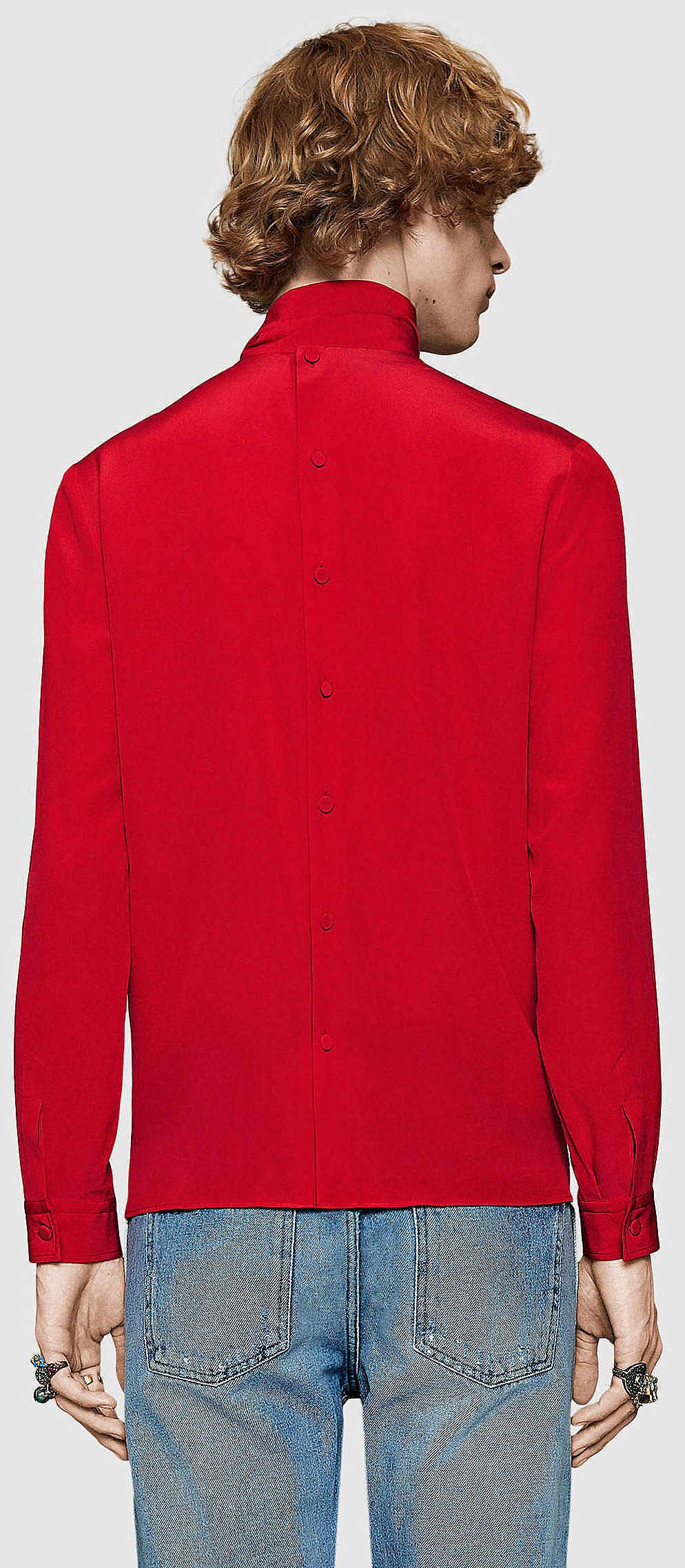 084514dbbb63ed Gucci - Silk Cambridge Shirt with Scarf  shirts