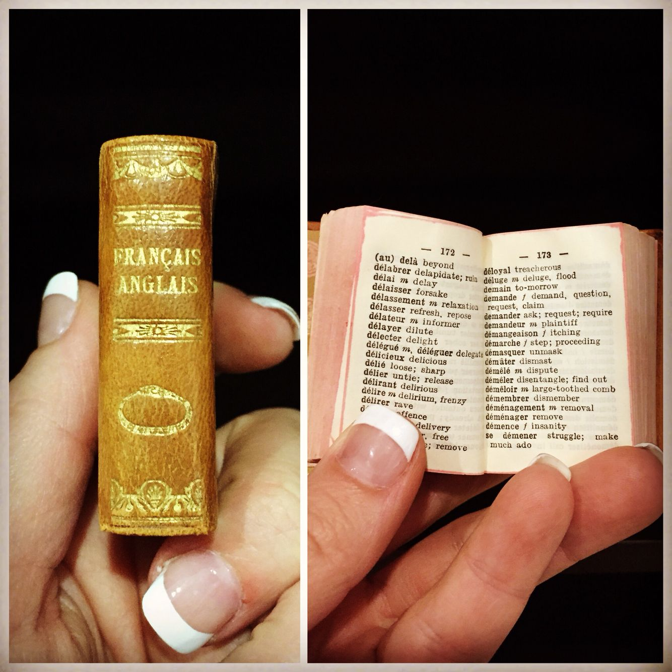 Tiny Leather Bound Book French To English Dictionary Book Decor Leather Bound Books Bookshelf Decor