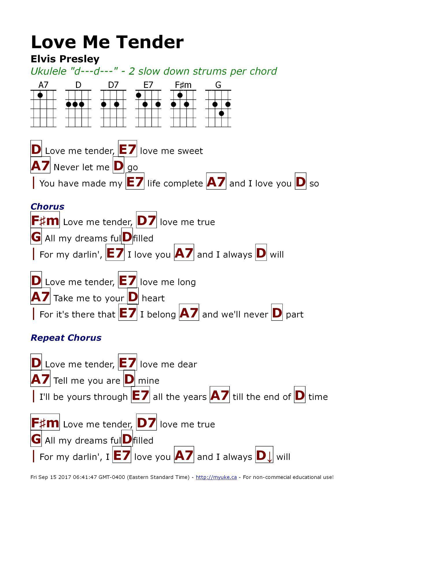 Love Me Tender Elvis Presley Httpmyuke Guitarchords
