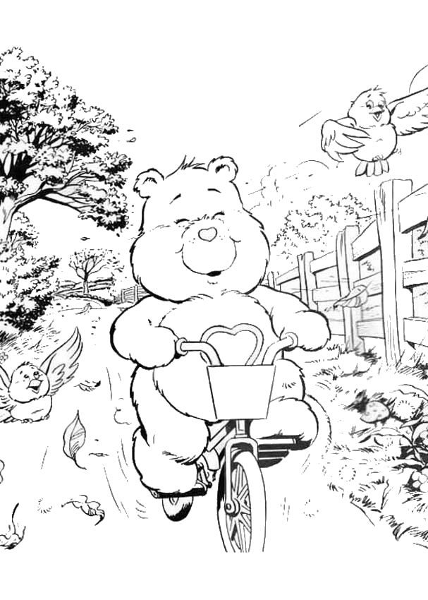 Care Bear with bicycle coloring page