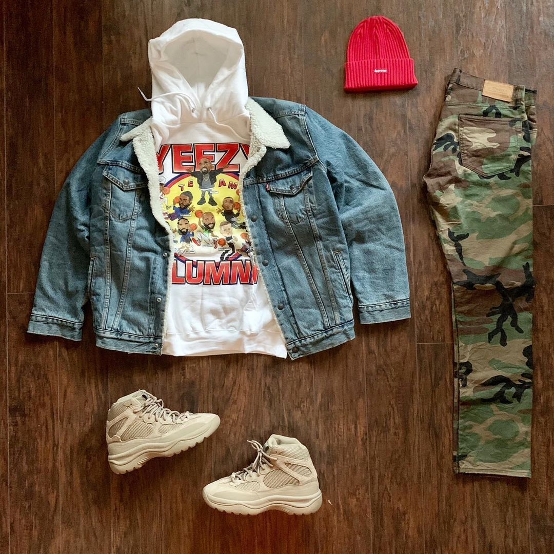 """TMC on Instagram: """"What y'all rocking today #outfitgrid ️#Chinatown #Hoodie ️#Levi #Jacket ️#RLPolo #Pant ️#Supreme #Beanie ️#Yeezy #Boot"""""""