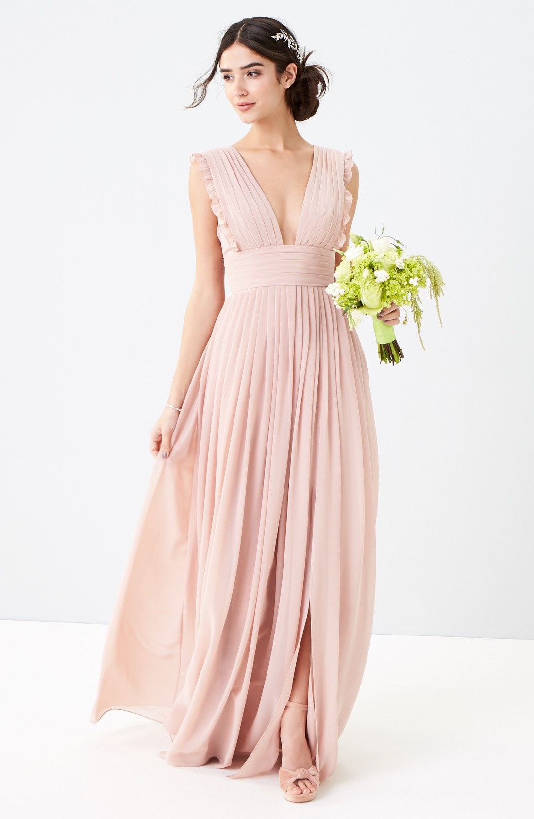 Free shipping and returns on Monique Lhuillier Bridesmaids Deep V ...