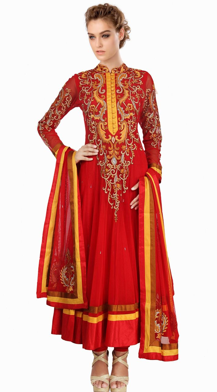 96ee848994f Lovely Red Net Readymade Plus Size Salwar Kameez With Dupatta