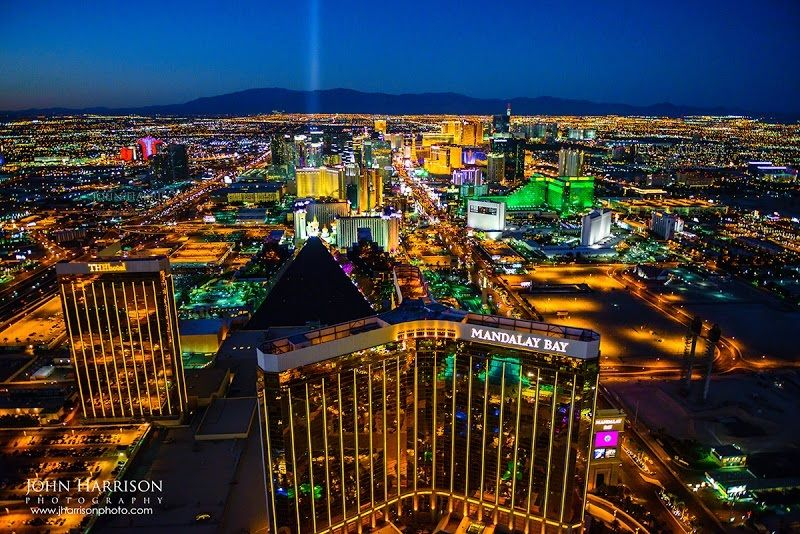 Las Vegas Night Skyline Aerial Photography Luxor Mgm Excalibur