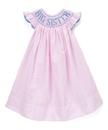 4ae4ca1ac Another great find on  zulily! Pink  Big Sister  Smocked Bishop ...