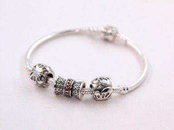 Sterling Silver Flying Butterfly and Red Birthstone Combination Charms Bracelets - Noble Bracelets - Bracelets - LYDIA JEWELLERY