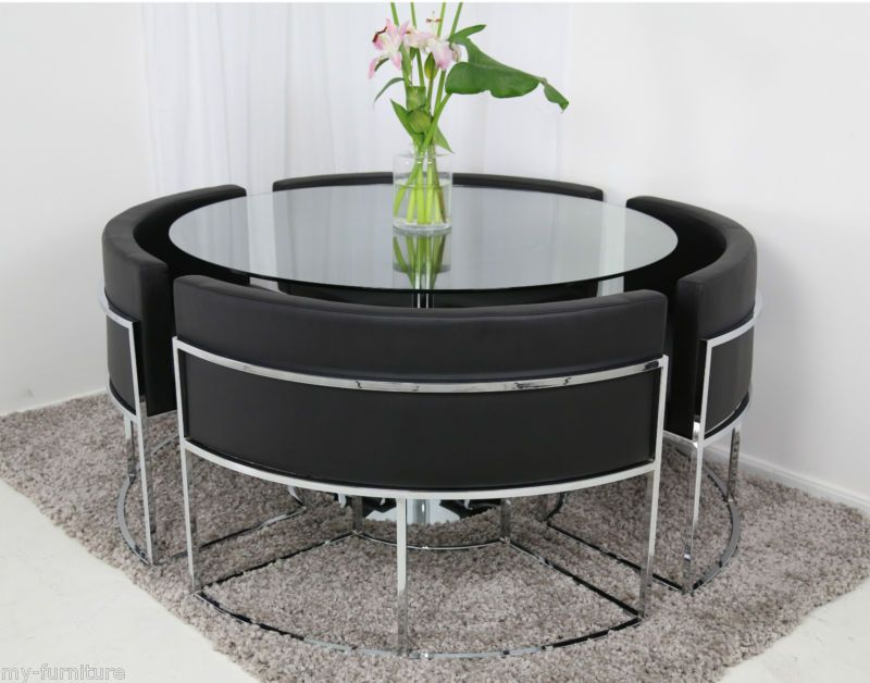 Round Glass Dining Table And Chair Set Hideaway Glass Round