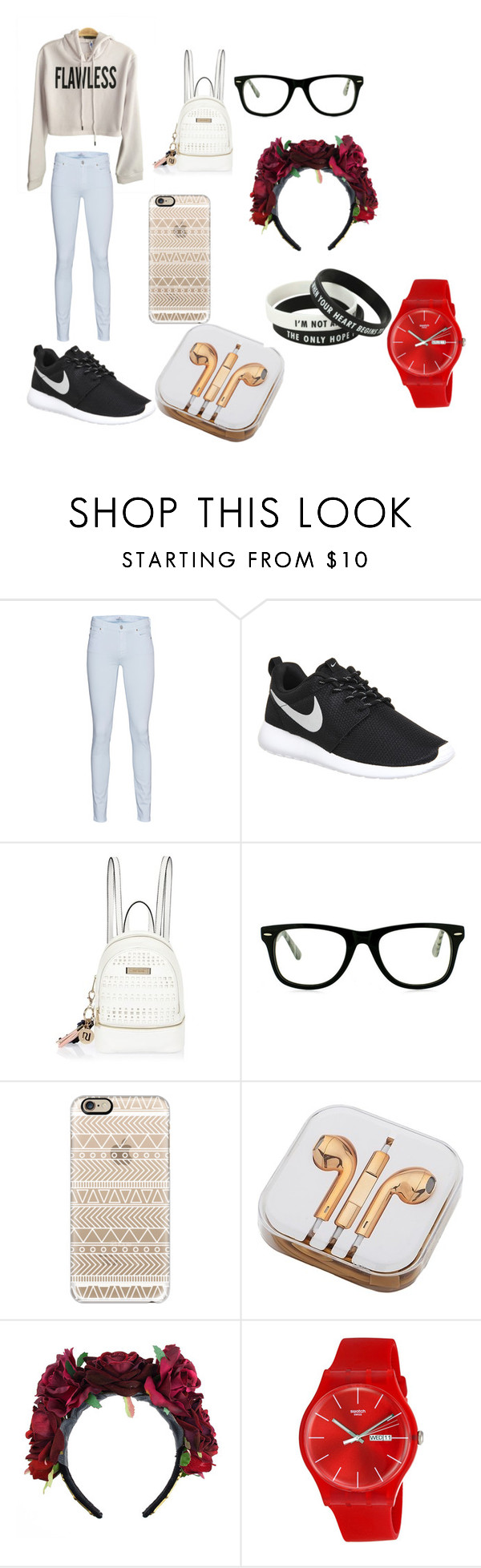 """""""i dont think your ready"""" by alexiscmcdougald ❤ liked on Polyvore featuring 7 For All Mankind, NIKE, River Island, Muse, Casetify, PhunkeeTree and Swatch"""