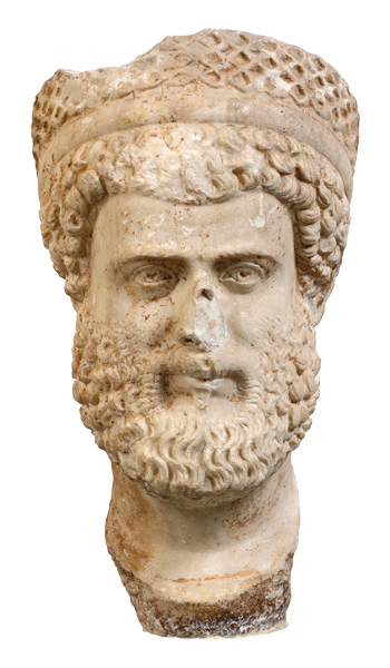 Marble male portrait head, found in Athens. AD 350 - 400  Male portrait head, made of pentelic marble. It was found in Athens. The man depicted wears a strophion (band) and a tall diadem. Probably a depiction of a priest or an emperor, as shown by the diadem, Julian the Apostate (AD 361-363), according to one view.