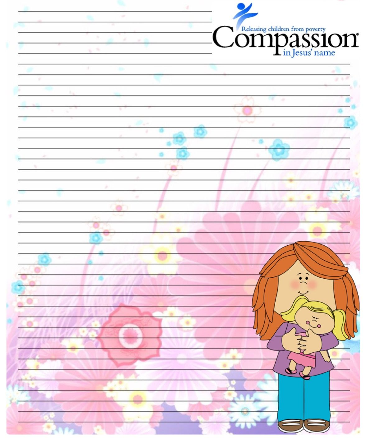 Compassion International stationary for sponsored kids