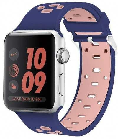POSH TECH Blue\u002FPink Breathable Silicone 42mm Apple