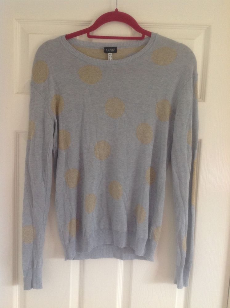 Silveramp; Armani Knitted 40 Gold Link Ladies 12fashionclothingshoesaccessorieswomensclothingsweatersebay Jeans Glittery Jumper 2YbWHED9eI