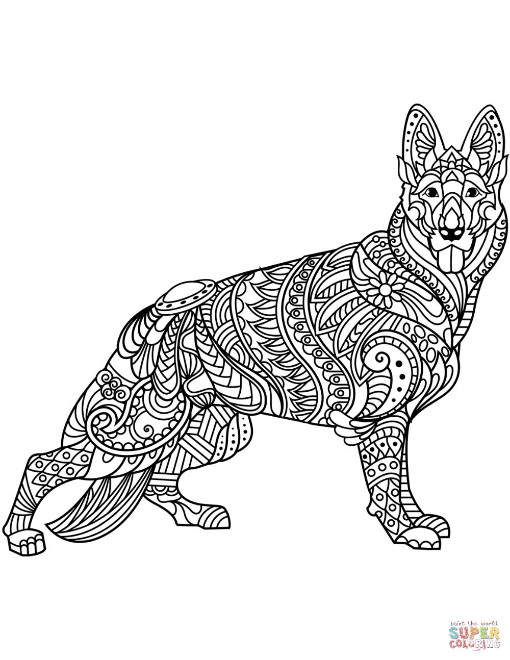 German Shepherd Zentangle Coloring Page Free Printable Coloring Pages In 2020 Dog Coloring Page Horse Coloring Pages Animal Coloring Books
