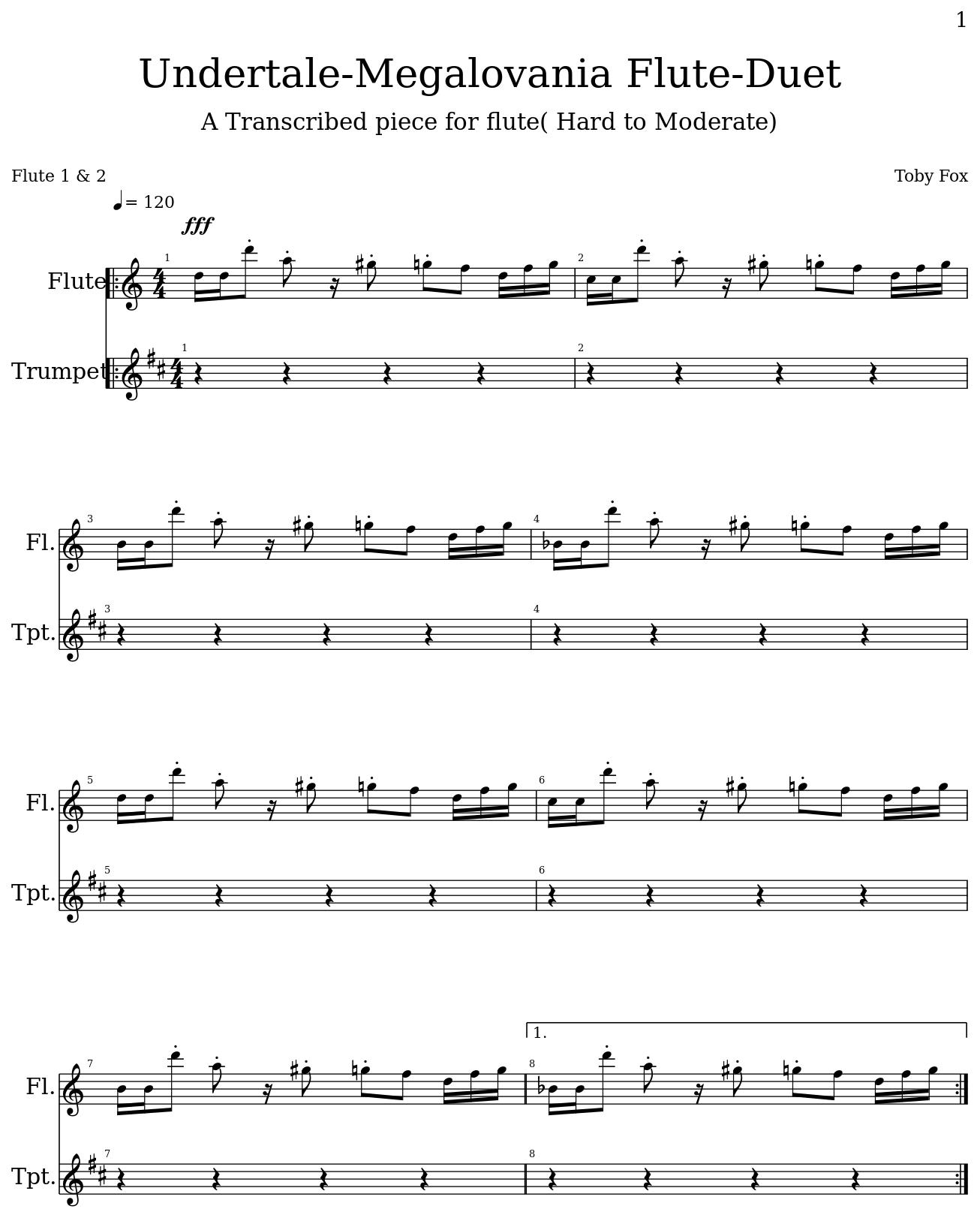 Undertale-Megalovania Flute-Duet, a music score by Phenx