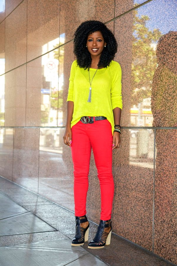 Neon Yellow Sweater   Red Skinnies | Style muses | Pinterest ...