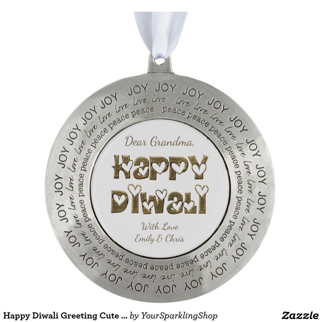 Happy #Diwali Greeting Cute Hearts Typography Ornament #gifts