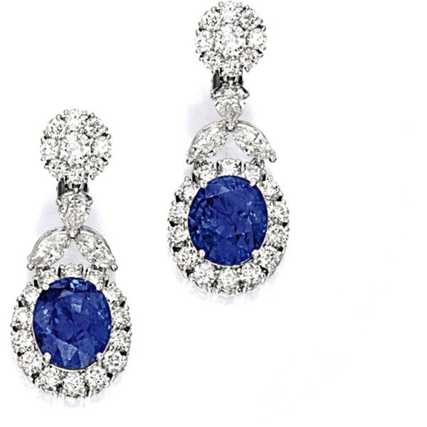 Pair of Sapphire and Diamond Pendent Earrings | Lot | Sotheby's ❤ liked on Polyvore featuring jewelry, earrings, sapphire diamond earrings, diamond earring jewelry, sapphire jewellery, diamond jewellery and sapphire jewelry