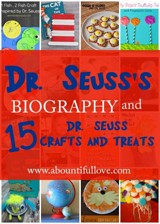 Do you love anything Dr. Seuss? I certainly do. Here's Dr. Seuss's  short bio and 15 fun Dr. Seuss crafts, activities plus yummy treats.