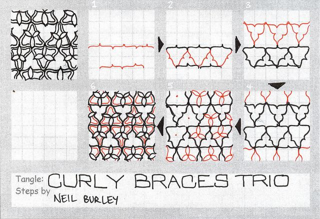 Curly Braces Trio tangle pattern by perfectly4med, via