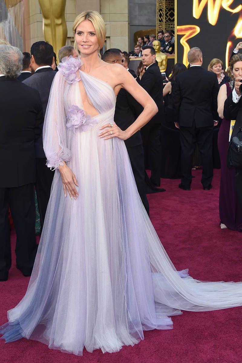 Heidi Klum One Sleeve Lavender Tulle Unique Celebrity Prom Dress Oscars 2016