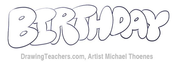Bubble Letters Birthday In Bubble Style Graffiti Letters Bubble Letters Graffiti Lettering Bubble Style