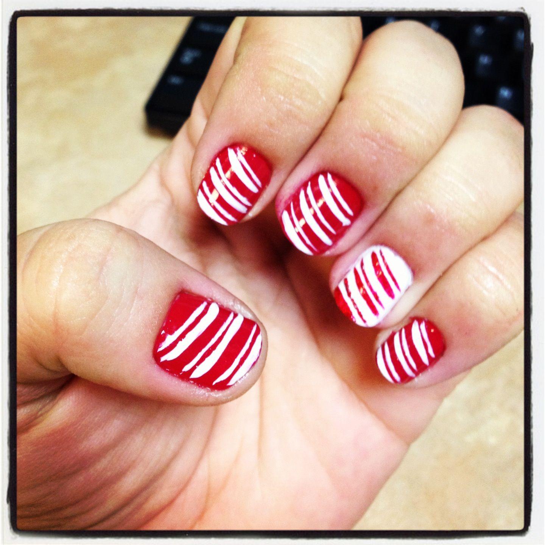 Candy cane nail art my nail designs pinterest