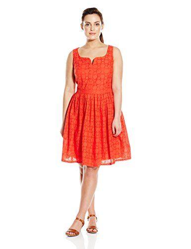 b93dfd1ca23 Adrianna Papell Women s Plus-Size Capri Eyelet Sleeveless Dress ...