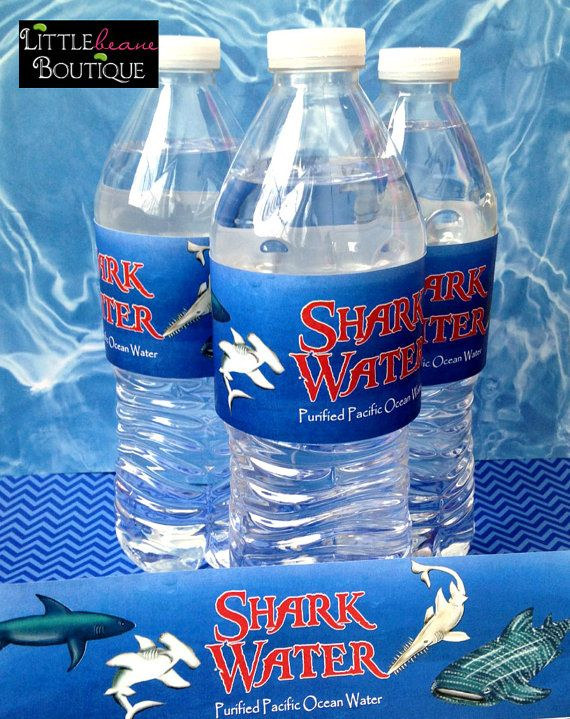 Shark water bottle labels, Shark Frenzy water bottle labels, Shark