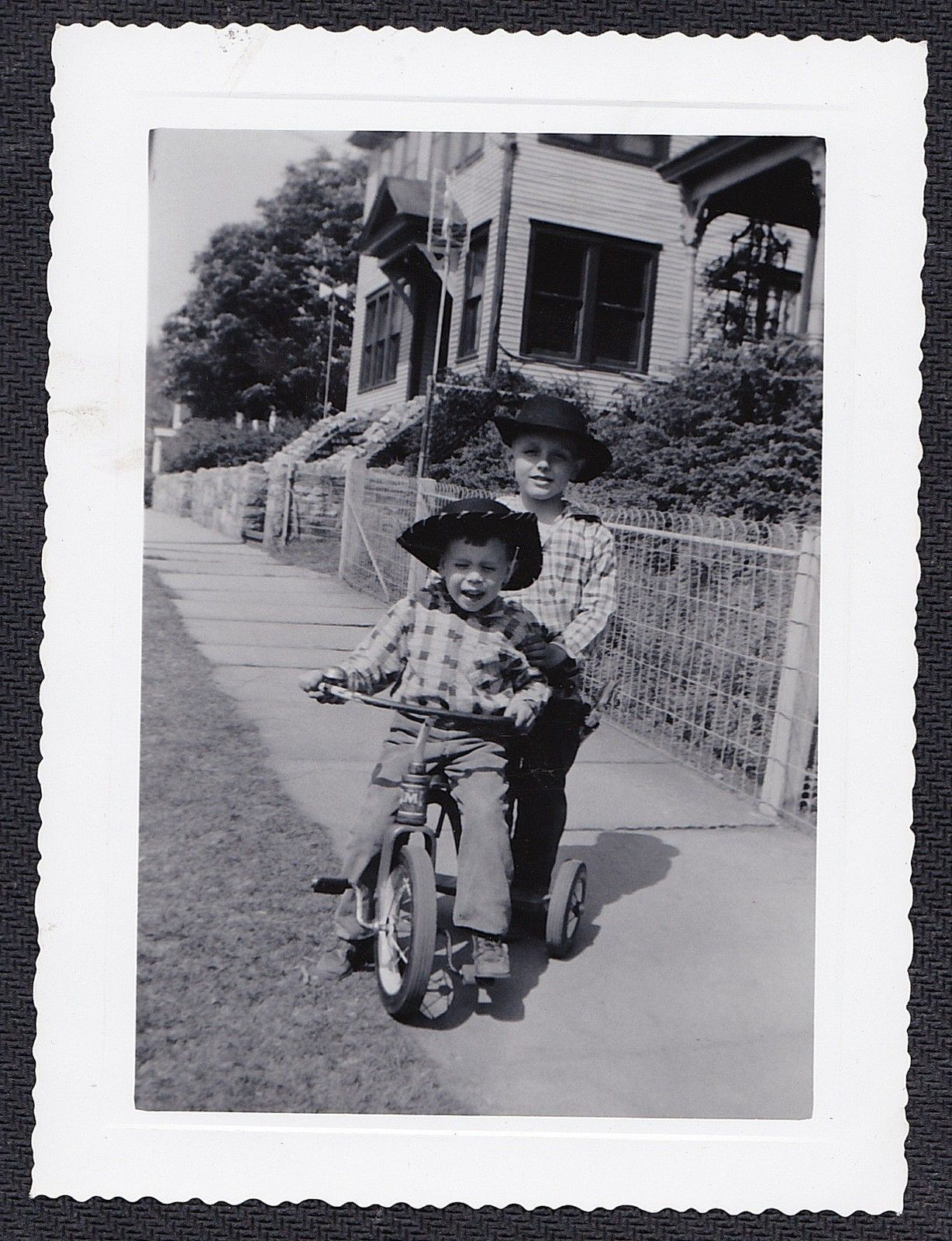 Vintage antique photograph two little boys in cowboy hats riding tricycle bike ebay