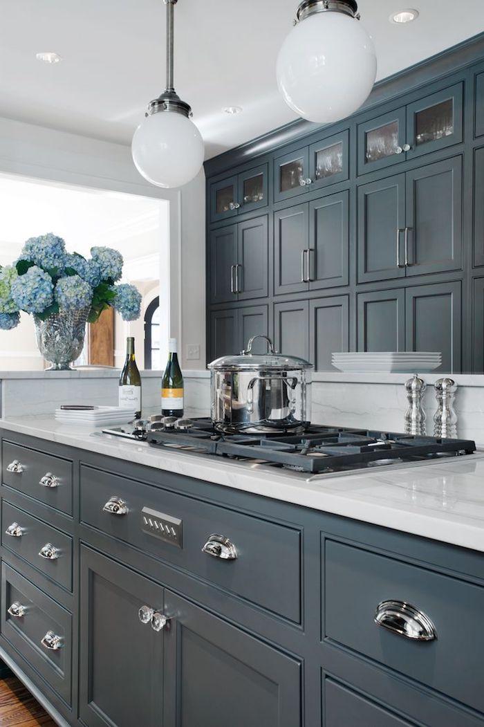 idea inspiration grau blaue möbel zu hause küche blaue blumen ...