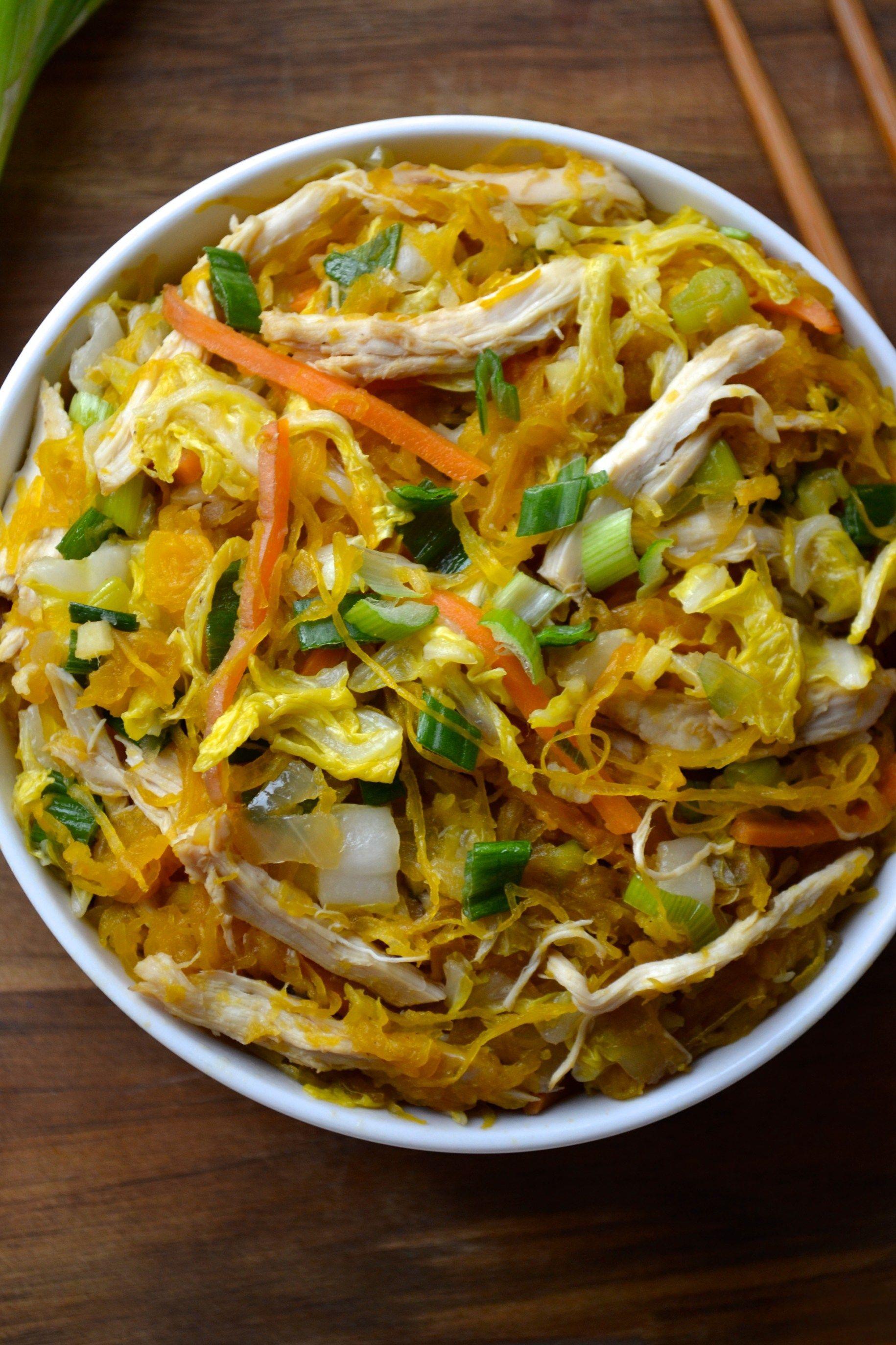 Spaghetti Squash Chicken Chow Mein
